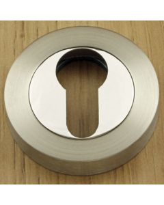 Euro Profile Escutcheons - Dual Finish - Satin Nickel & Polished Chrome
