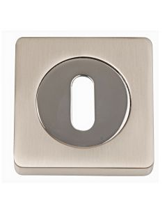 Standard Profile Escutcheons - Square Rose - Dual Finish - Satin Nickel & Polished Chrome