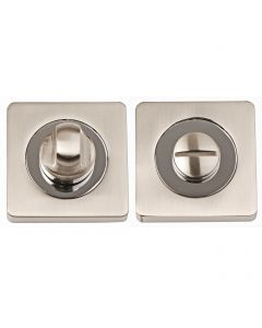 Turn & Release Set - Square Rose - Dual Finish - Satin Nickel & Polished Chrome