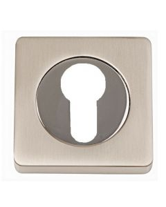 Euro Profile Escutcheons - Square Rose - Dual Finish - Satin Nickel & Polished Chrome
