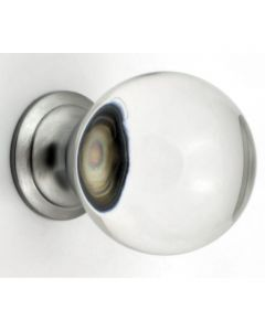 Clear Glass Ball Shape Cupboard Knobs - 3 Sizes - With Satin Chrome Rose