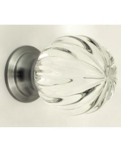 Clear Glass Pumpkin Shape Cupboard Knobs - 3 Sizes - With Satin Chrome Rose