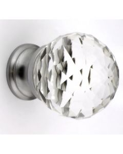 Clear Faceted Shape Glass Cupboard Knobs - 3 Sizes - With Satin Chrome Rose
