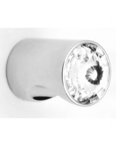 Cylinder Shape Cupboard Knob With Swarovski Crystal End - Polished Chrome