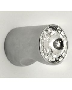 Cylinder Shape Cupboard Knob With Swarovski Crystal End - Satin Chrome