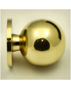 Plain Ball Shape Cupboard Knobs With Fixed Rose - Polished Brass