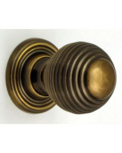 Queen Anne Style - Ringed Pattern Reeded Cupboard Door Knobs - 3 Sizes - Florentine Bronze