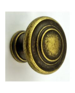 Traditional Stepped Pattern Disc Shape Cupboard Knob - Antique Distressed Brass