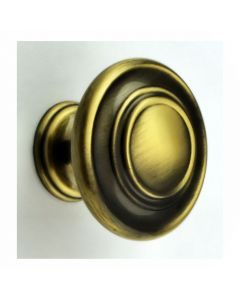 Traditional Stepped Pattern Disc Shape Cupboard Knob - Antique Burnished Brass