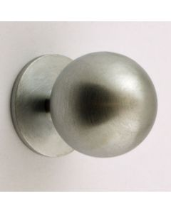 Plain Ball Shape Cupboard Knobs With Fixed Rose - 4 Sizes - Satin Chrome