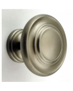 Stepped Pattern Disc Shape Cupboard Knob - Brushed Satin Nickel