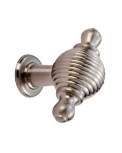 Oval Reeded Knob With Finial Ears - Brushed Satin Nickel