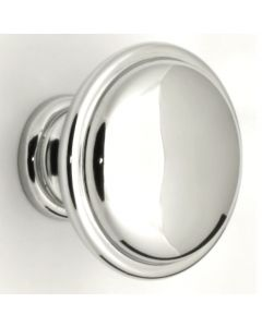 Shaker Style Single Step Pattern Cupboard Knobs - 2 Sizes - Polished Chrome