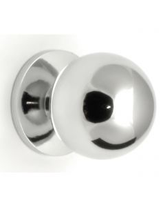 Plain Ball Shape Cupboard Knobs With Fixed Rose - 4 Sizes - Polished Chrome