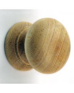 Wooden Cupboard Knob - Mushroom Shape - 34mm Diameter - Unfinished Pine