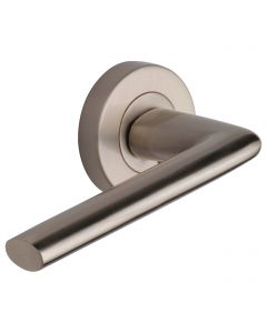 Lena Lever Handles - on Round Rose - Satin Nickel