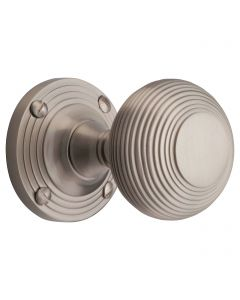 Reeded Pattern Mortice Door Knobs - Satin Nickel