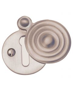 Reeded Pattern Covered Keyhole Escutcheon - Satin Nickel