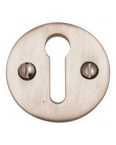 Round Open Escutcheon Key Hole Cover - Satin Nickel