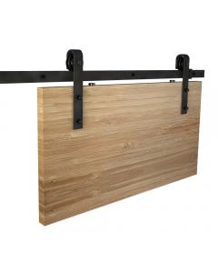 Rea - Barn Door Style Sliding Door Gear With Face Fix Straps - For Door Widths Up To 900mm Wide - Track Length 2000mm - Matt Black