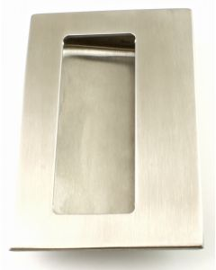 Rectangular Flush Pull Handle With Finger Grip Section - For Sliding Or Hinged Doors - 125mm x 83mm -  Satin Stainless Steel
