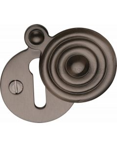 Reeded Pattern Covered Keyhole Escutcheon - Matt Bronze - Each