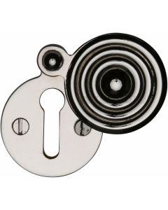 Reeded Pattern Covered Keyhole Escutcheon - Polished Nickel - Each