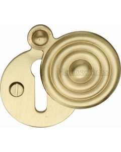 Reeded Pattern Covered Keyhole Escutcheon - Satin Brass - Each