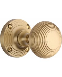 Reeded Round Mortice Knobs - Satin Brass