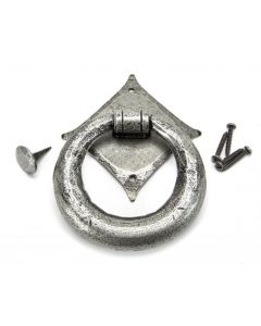 Ring Door Knocker - Face Fixed - Pewter