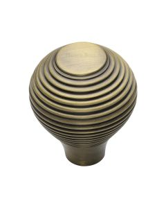 Ringed Pattern Cupboard Knob - Available In Two Sizes - Antique Brass