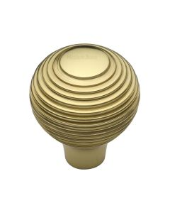Ringed Pattern Cupboard Knob - Available In Two Sizes - Polished Brass