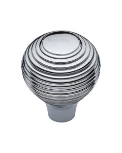Ringed Pattern Cupboard Knob - Available In Two Sizes - Polished Chrome