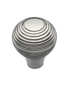 Ringed Pattern Cupboard Knob - Available In Two Sizes - Polished Nickel