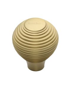 Ringed Pattern Cupboard Knob - Available In Two Sizes - Satin Brass