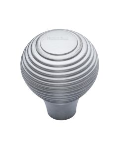 Ringed Pattern Cupboard Knob - Available In Two Sizes - Satin Chrome