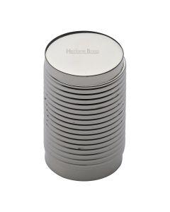 Ringed Pattern Cylinder Shaped Cupboard Knob - Polished Nickel