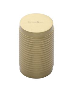 Ringed Pattern Cylinder Shaped Cupboard Knob - Satin Brass