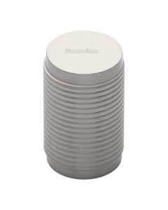 Ringed Pattern Cylinder Shaped Cupboard Knob - Satin Nickel