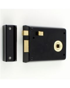 Surface Mounted Rim Latch With Snib Bolt - Black With Polished Brass Surrounds