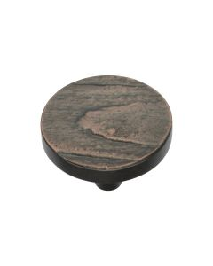 Round Bark Pattern Cupboard Knob - Available In Two Sizes - Aged Copper