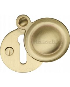 Round Covered Escutcheon Key Hole Cover - Satin Brass - Each