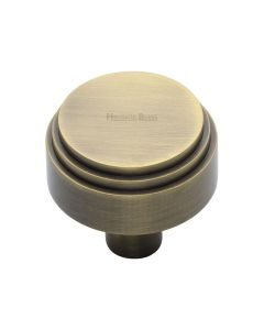 Round Stepped Pattern Cupboard Knob - Available In Two Sizes - Antique Brass