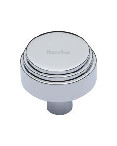 Round Stepped Pattern Cupboard Knob - Available In Two Sizes - Polished Chrome