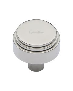 Round Stepped Pattern Cupboard Knob - Available In Two Sizes - Polished Nickel