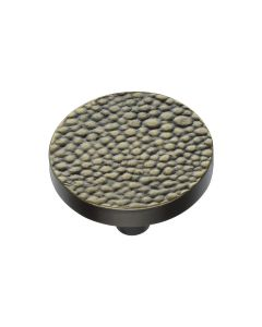 Round Stingray Pattern Cupboard Knob - Available In Two Sizes - Aged Brass