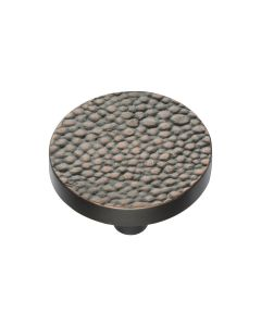 Round Stingray Pattern Cupboard Knob - Available In Two Sizes - Aged Copper