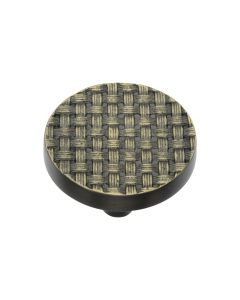 Round Weaved Pattern Cupboard Knob - Available In Two Sizes - Aged Brass
