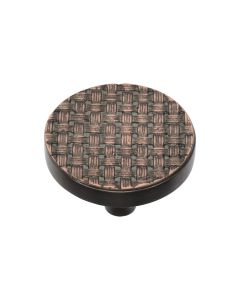 Round Weaved Pattern Cupboard Knob - Available In Two Sizes - Aged Copper