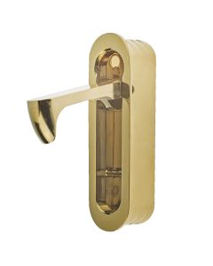 Rounded End Flush Fitting Pull Out Edge Pull For Sliding Pocket Hideaway Doors - PVD Brass Plated - Open